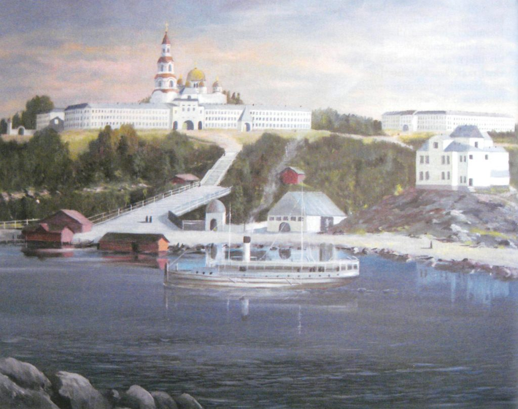 The Valaam monastery, with the Transfiguration Cathedral in the background.1892.