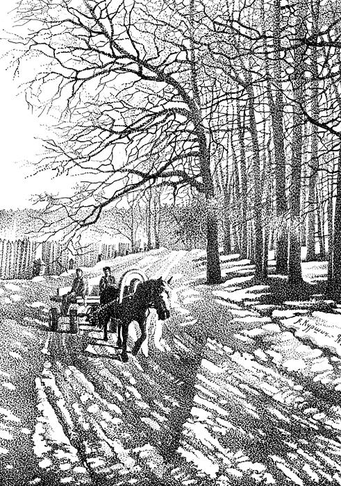 Куршин. По свежему снегу 27x20 1996 г