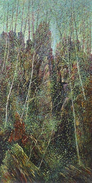 Куршин 104. Скалистая глушь. 62x32 Холст. Масло. 1994 г.