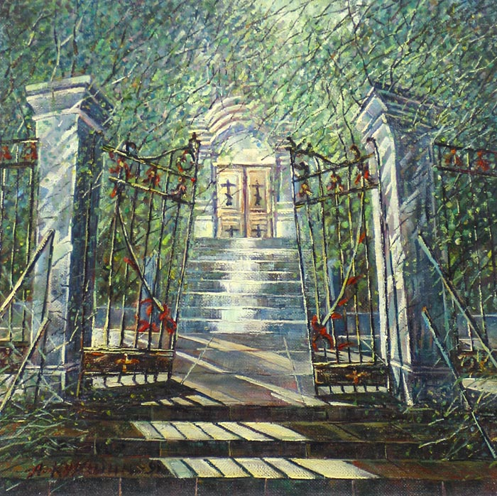 Куршин 109. На ступеньках к храму. 44x44 Холст. Масло. 1991 г.