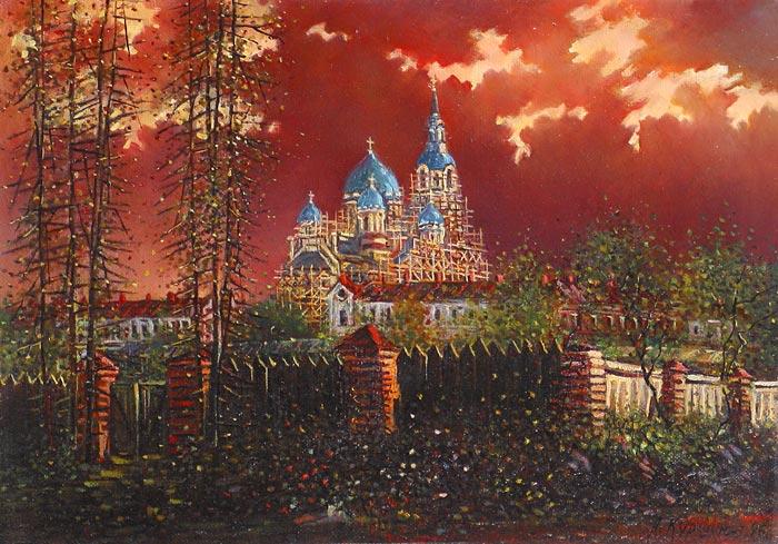 Куршин 111. Светящийся собор. 52x37 Холст. Масло. 1996 г.