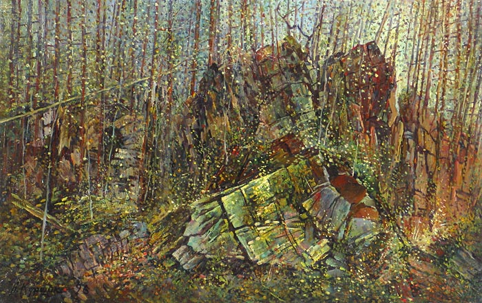 Куршин 112. В лесной чаще. 57x36 Холст. Масло. 1996 г.