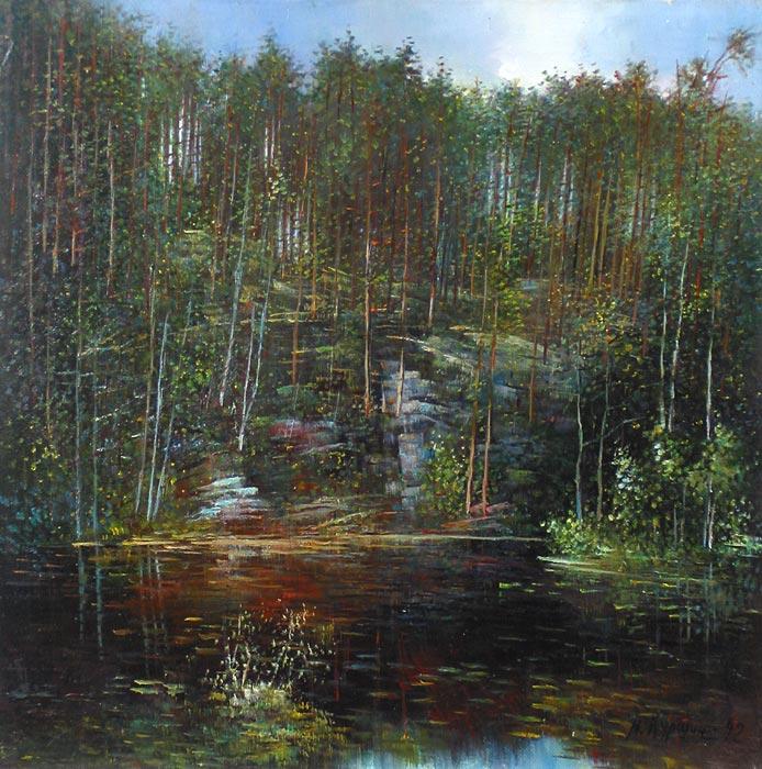 Куршин 117. Внутреннее озеро. 52x52 Холст. Масло. 1992 г.