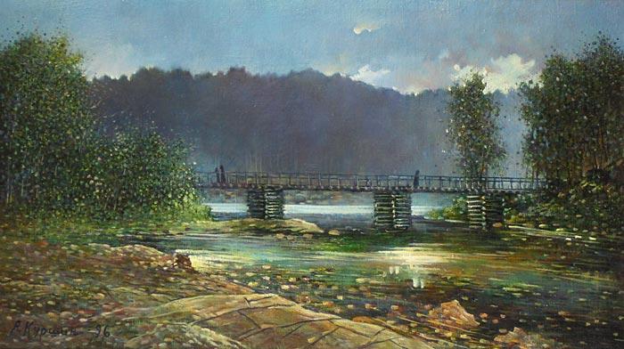 Куршин 13. Мост к ``Белому скиту``. 71x41 Холст. Масло. 1996 г.