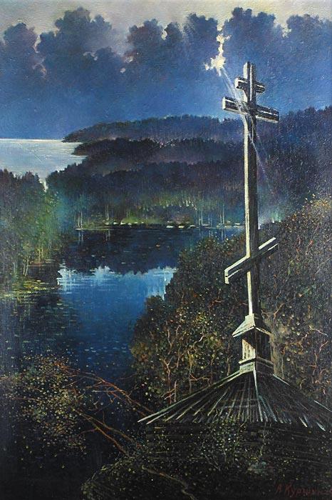 Куршин 19. Поклонный крест на ``Крестовом озере``. 96x66 Холст. Масло. 1996 г.