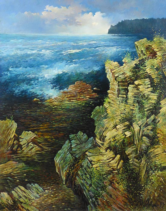 Куршин 2. На Дивном острове. Скалы. 71x56 Холст. Масло. 1999 г.