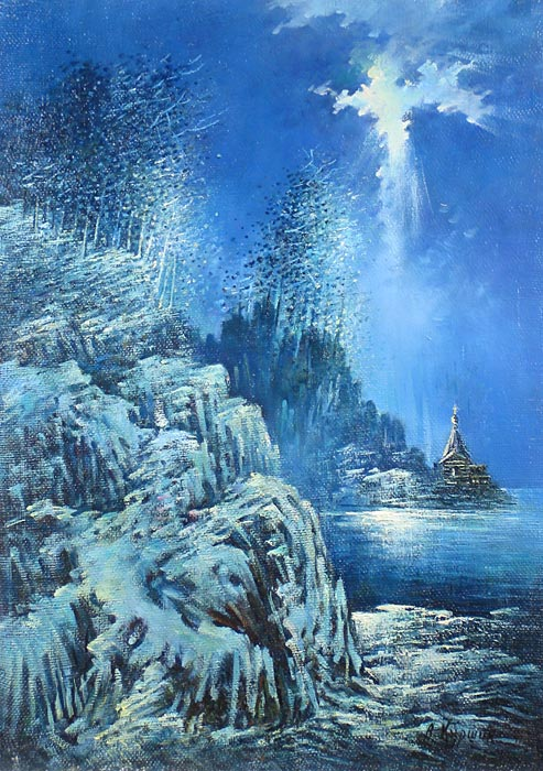 Куршин 21. Монастырская бухта зимой. 67x49 Холст. Масло. 1991 г.