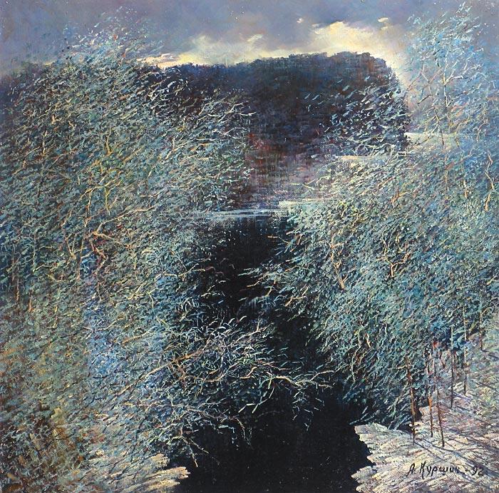 Куршин 41. Зимний вид над местностью ``Кукко``. 61x61 Холст. Масло. 1992 г.