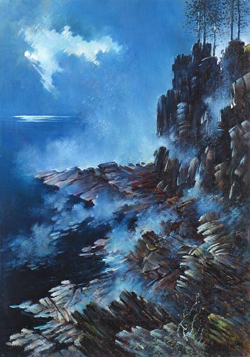 Куршин 48. Туман и вечер. 70x50 Холст. Масло. 1993 г.