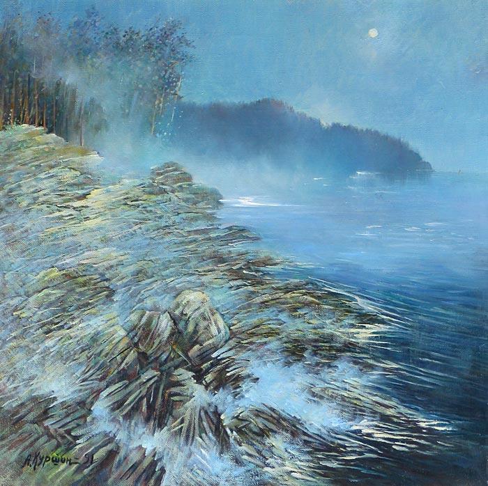 Куршин 54. Туман над озером. 58x58 Холст. Масло. 1991 г.