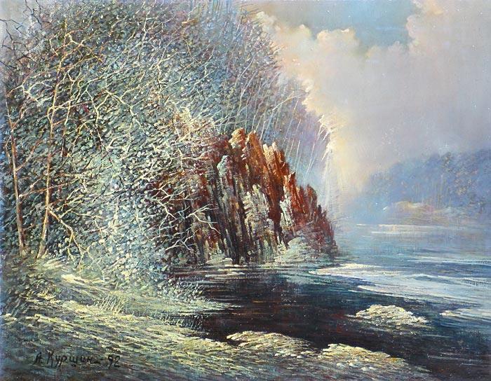 Куршин 56. Монашеская купальня в зимнем уборе. 71x55 Холст. Масло. 1992 г.