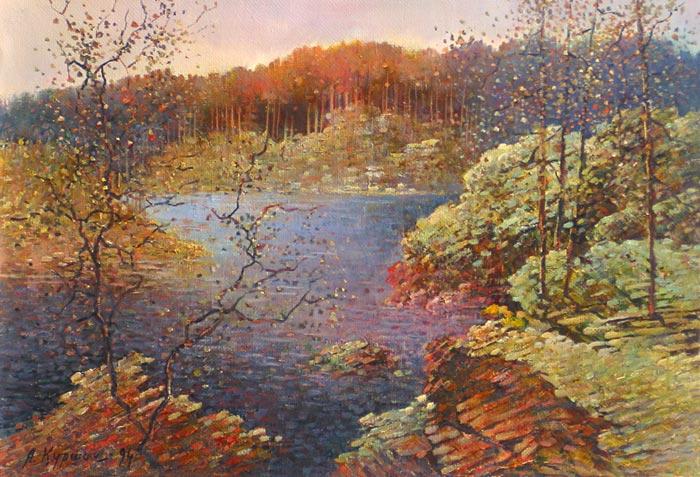 Куршин 62. Вид на внутреннее озеро. Осень. 48x33 Холст. Масло. 1994 г.
