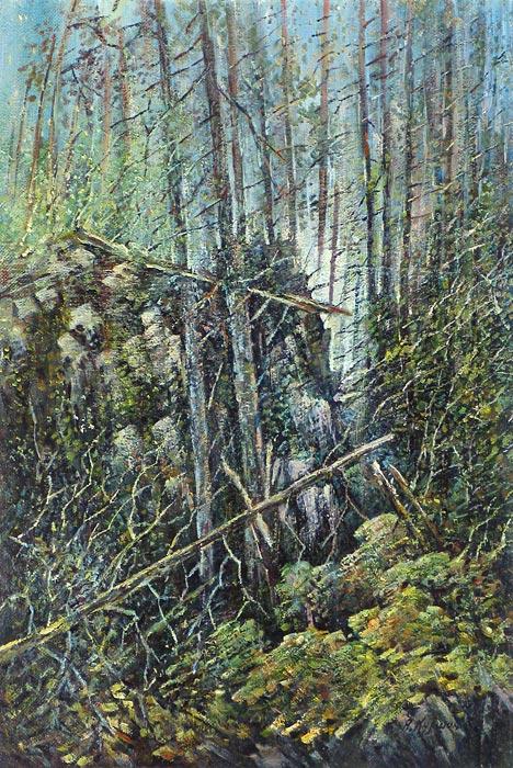 Куршин 71. Лесной бурелом. 60x40 Холст. Масло. 1993 г.
