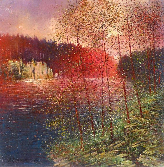 Куршин 75. Осенний пейзаж. 40x39 Картон. Масло. 1993 г.