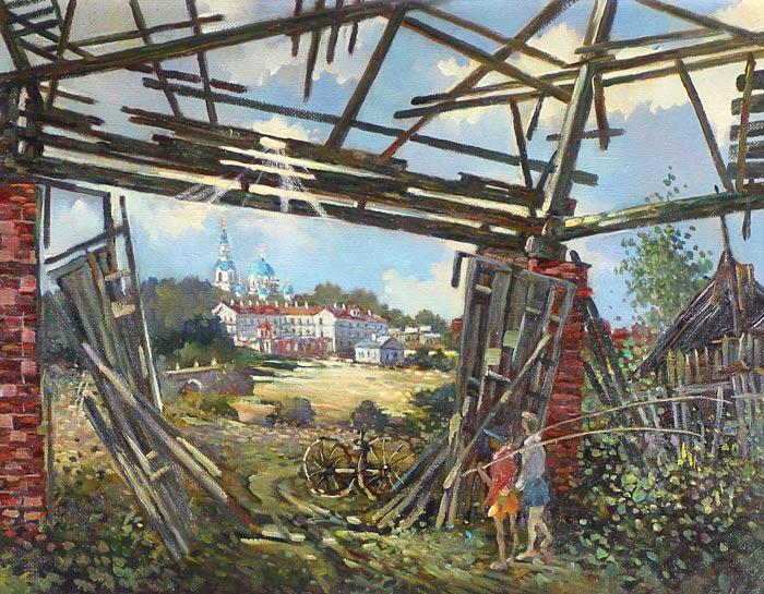Куршин 84. ``Окно`` в монастырь. 55x42 Холст. Масло. 1997 г.