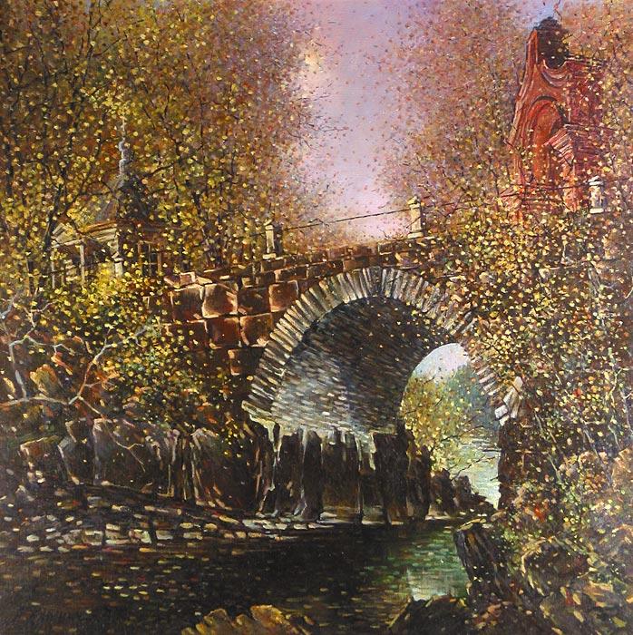 Куршин 94. Владимирский мост. 78x78 Холст. Масло. 1997 г.