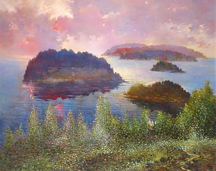 Куршин 97. Восход над Святым островом. 80x65 Холст. Масло. 1997 г.