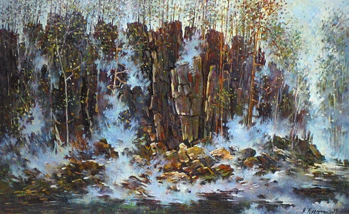 Куршин 99. Туман на скалах. 85x55 Холст. Масло. 1997 г.