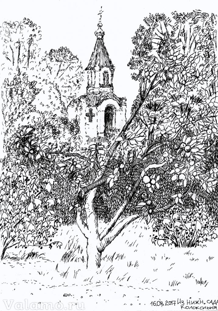 Коркина Марина. Валаам. 2017. Из Нижнего сада. Колокольня. Современные художники, живопись.