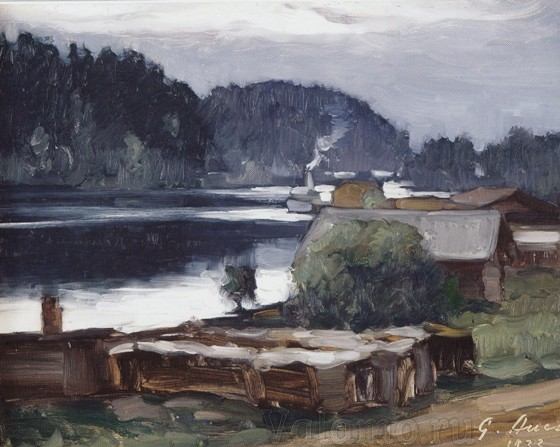 grigor auer. vecher v gavani valaama. 1933. karton maslo. muzej ii g. joensuu