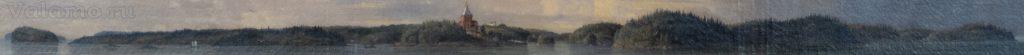 Береговая линия. Фрагмент. И. Шишкин. Вид Валаамского монастыря с южной стороны. 1859