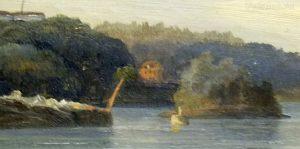 Домик на пристани. Фрагмент. И. Шишкин. Вид Валаамского монастыря с южной стороны. 1859