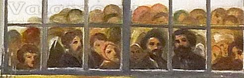 Е. А. Ознобишин. Молебен у раки прп. Сергия и Германа в присутствии императора Александра II и его семьи 28 июня 1858 года. 1859. Фрагмент.