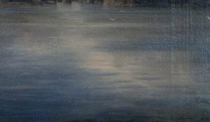 Гладь озера. Фрагмент. И. Шишкин. Вид Валаамского монастыря с южной стороны. 1859