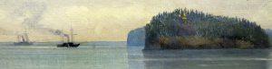 Шишкин. Святой остров. Фрагмент. И. Шишкин. Вид Валаамского монастыря с южной стороны. 1859