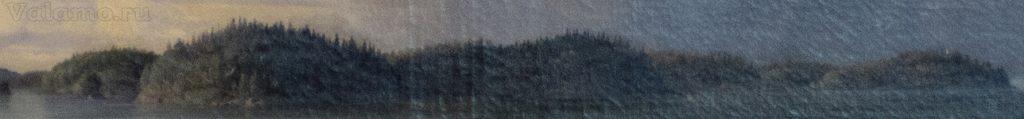 Справа от Монастырсокй бухты.Фр.Шишкин.Вид Валаамского монастыря с южной стороны.1859
