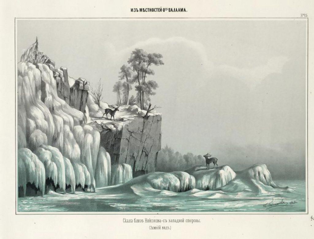 25.skala bliz nikonova s zapadnoj storony zimnij vid p. i. balashov. litografiya