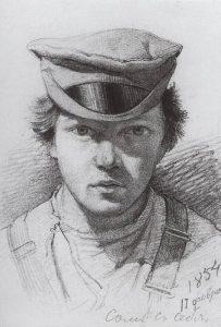 Иван Иванович Шишкин – Автопортрет 1854. Бумага, графит. карандаш. 13. 3х9