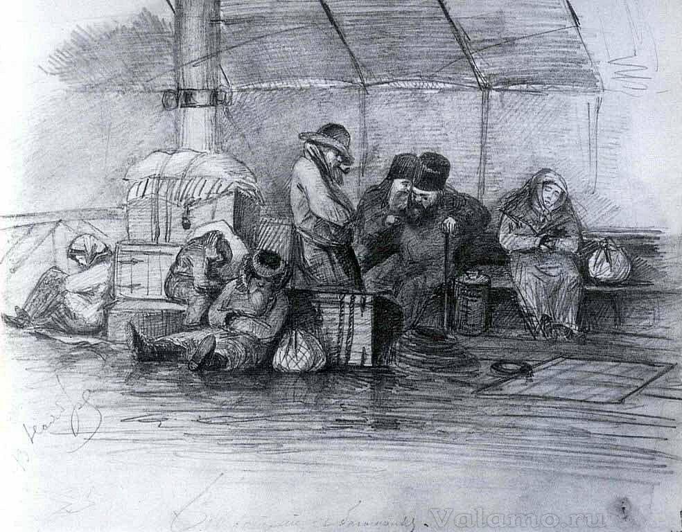 Васильев Федор Александрович. На пароходе. Возвращение с богомолья. 1867г