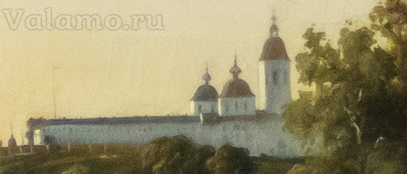 ЦУ(фрагм.) Давыдов И. Вид Валаамского монастыря с Ю-З стороны. 1853