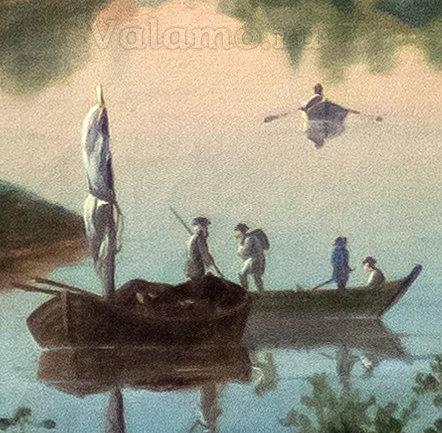 Судна(фрагм.) Давыдов И. Вид Валаамского монастыря с Ю-З стороны. 1853