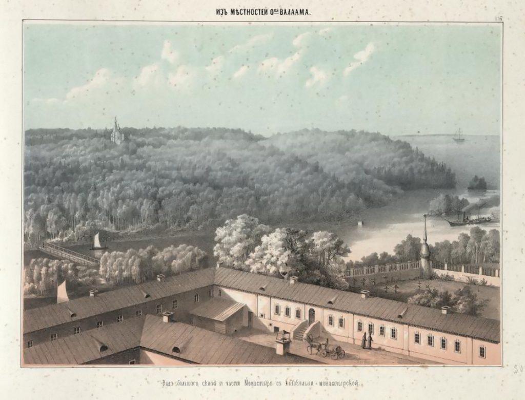 Вид большого скита и части монастыря с колокольни