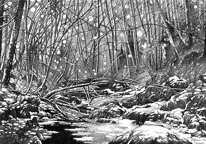 Куршин. У ``Гефсиманского`` скита зимой 26x36 1993 г