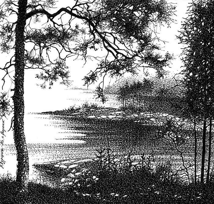 Куршин. На берегу озера 18x19 1988 г
