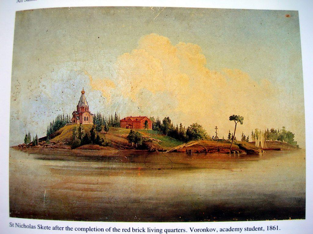 Валаам . Никольский скит с непобеленным храмом и келейным корпусом. Valamo and its message