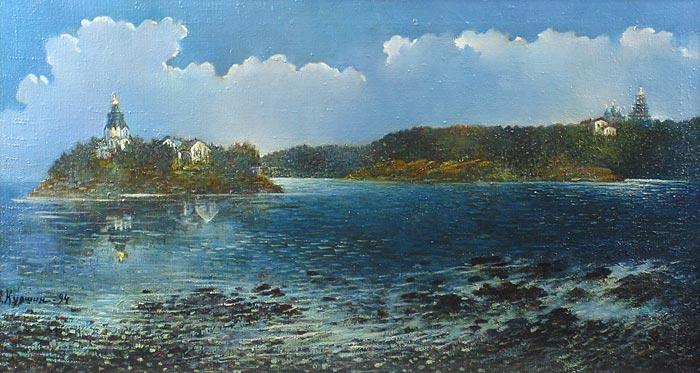 Куршин 100. Панорама монастыря. 66x36 Холст. Масло. 1994 г.