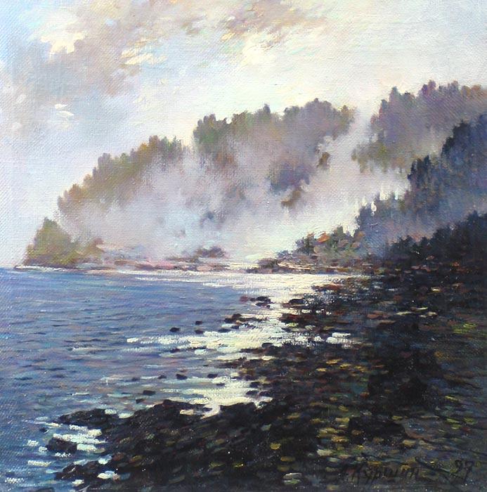 Куршин 106. Туман над бухтой. 37x37 Холст. Масло. 1997 г.