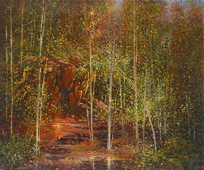 Куршин 122. Осеннее болото. 55x67 Холст. Масло. 1997 г.