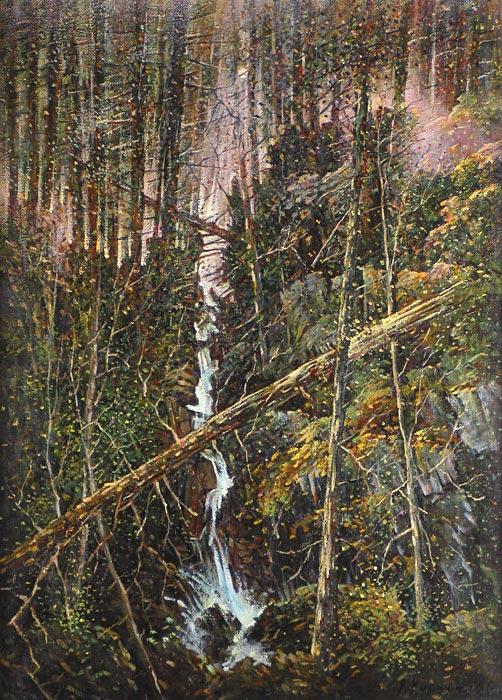 Куршин 16. Лесной водопад. 73x53 Холст. Масло. 1996 г.