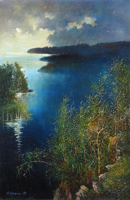 Куршин 22. Крестовое озеро. 91x60 Холст. Масло. 1985-1993 г.