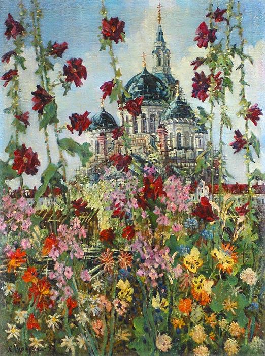 Куршин 31. Сквозь цветы. 81x61 Холст. Масло. 1993 г.