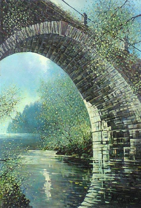 Куршин 76. Под ``Владимирским мостом``. 65x45 Холст. Масло. 1993 г.
