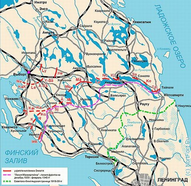 Красным отмечена линия Энкеля, розовым — линия Маннергейма, зелёным — русско-финская граница