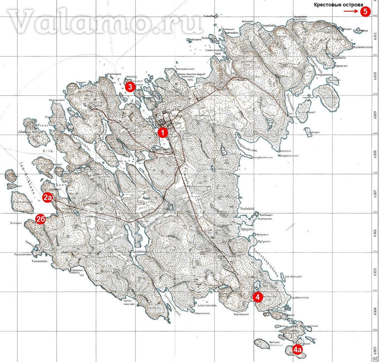 Карта финских военных причалов на Валааме времён Советской-Финской (Зимней) войны 1939-1940гг.