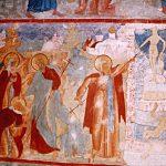 прп Авраамий наносит удар идолу Велеса. Роспись собора Иоанна Богослова в г. Ростове