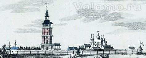 "Деревянная Центральная усадьба (""Валаамский монастырь на острове Валааме"" - фрагмент)"